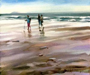 Beach walk oil on canvas