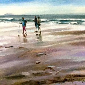 Beach walk oil on canvas