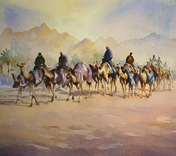 Camel Train Painting Trevor Waugh
