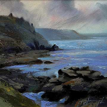 Cape-Cornwall artwork by artist Trevor Waugh. Costal oil painting
