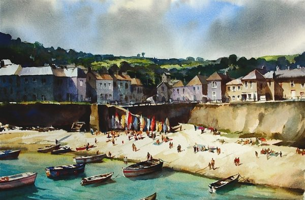Mousehole oil on canvas, Trevor Waugh