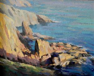 Cornish Rocks, stacks oil painting Trevor Waugh