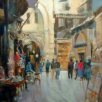 Street & Townscape painting marketplace watercolour