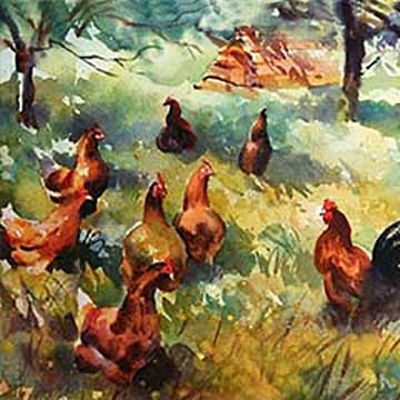 Animals, Hens artwork by artist Trevor Waugh. Watercolour painting