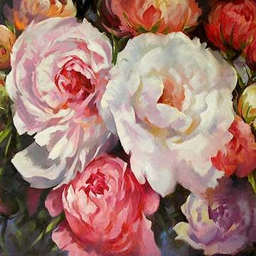 Flower artwork by artist Trevor Waugh. Oil painting