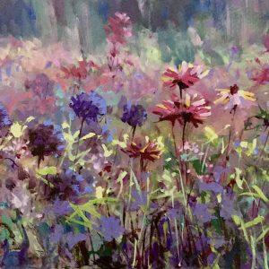 Flower Field Oil on Board painting by Yrevor Waugh