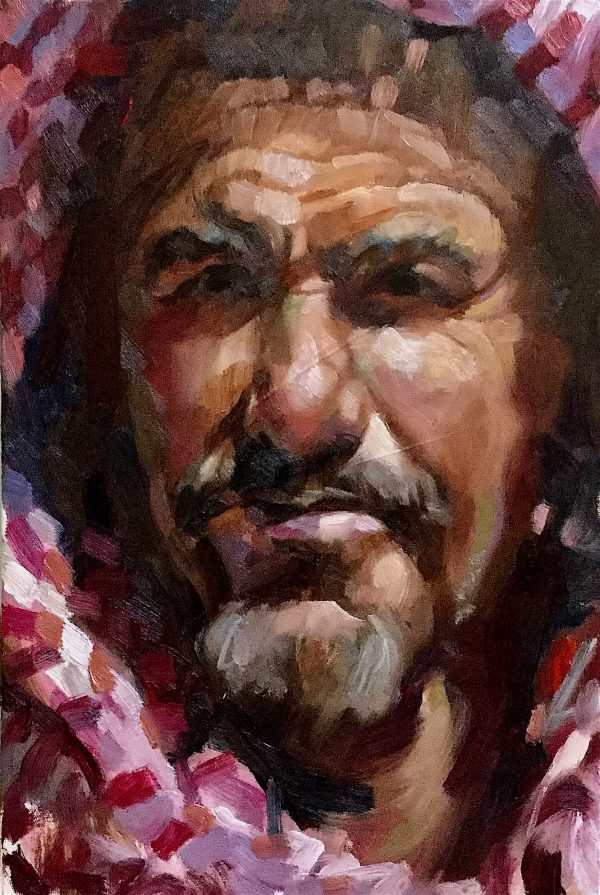 Arabian Portrait, Study, Oil on boxed canvas