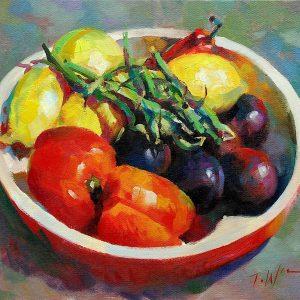 Bowl with beans, original art by Trevor Waugh