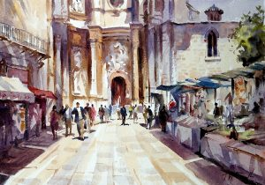 church valencia, original art by Trevor Waugh