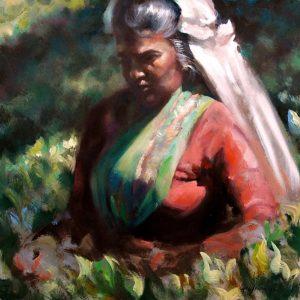 Tea Picker, original art by Trevor Waugh