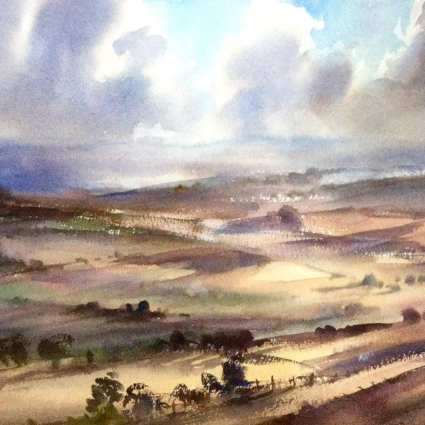 white horse wiltshire, original art by Trevor Waugh