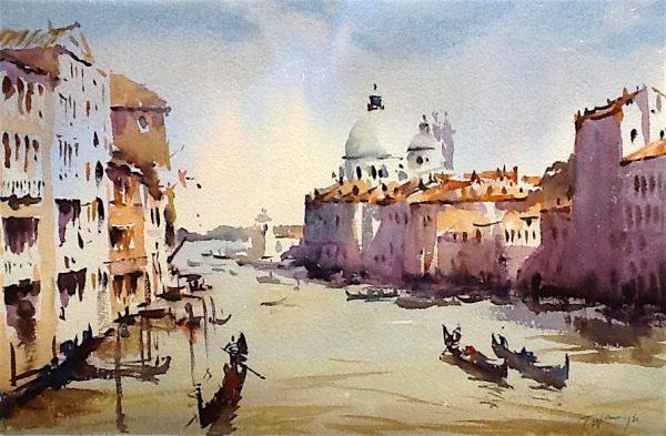 venice grand canal, original art by Trevor Waugh