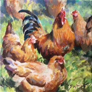 Cockerel, original art by Trevor Waugh