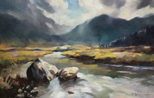 """""""Highland Stream"""" Oil on board unlisted size"""