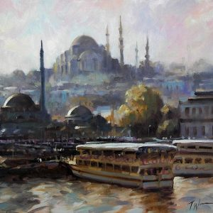 Ferries at Istanbul, by Trevor Waugh. Oil painting on canva