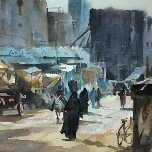 Local Market, watercolour by Trevor Waugh