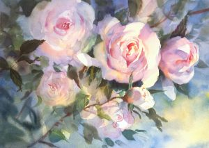 Watercolour of Roses. Full- sheet unframed price