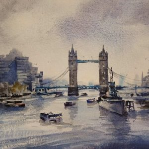 Pool-of-London oil painting