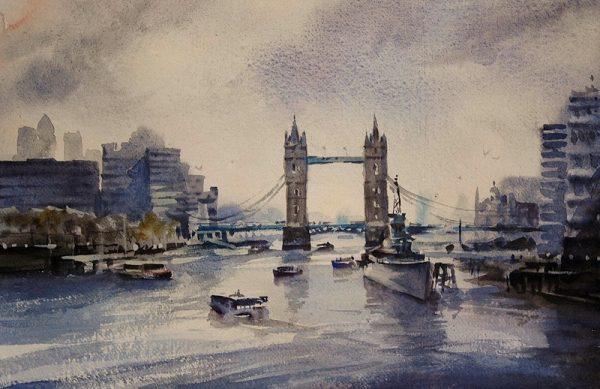 Pool-of-London oil painting