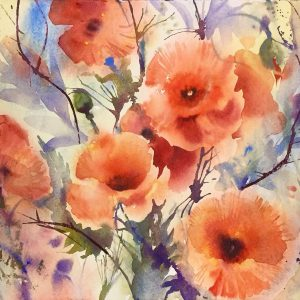 Watercolour of Poppy Heads half-sheet