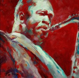 Red and Green Coltrane Oil Painting by Trevor Waugh oil painting