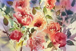 Rose-Frottage oil painting