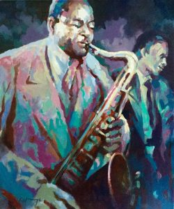Sax Spat Oil on canvas with frame