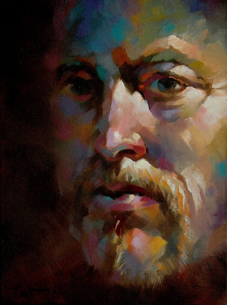 Trevor Waugh, Self portrait in oil. Biography page