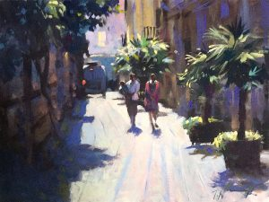 Valencia spain street scene, oil painting