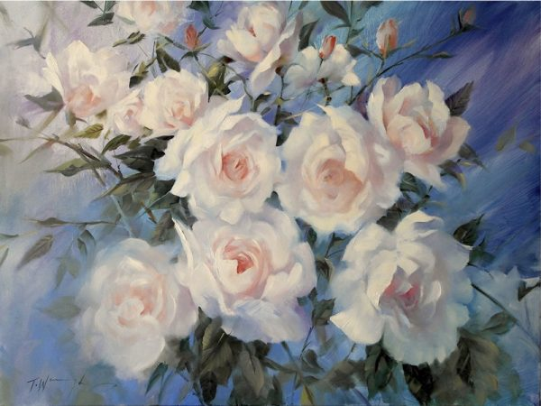 Swan Lake roses Painting Trevor Waugh