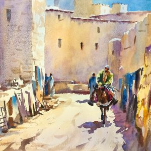 The-Old-Carpet-Souk-Morocco, Trevor Waugh painting