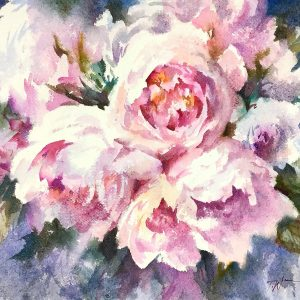 The Peonies Watercolour on handmade paper