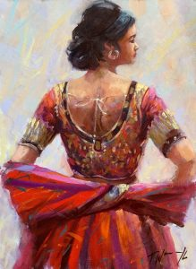 The Red Dress.Oil on board by Trevor Waugh