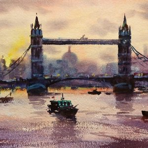 Tower-Bridge-Sunset painting