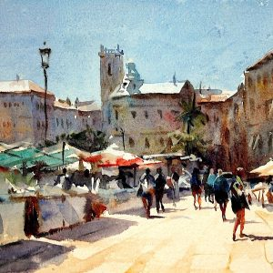 Valencia Street Market, original art by Trevor Waugh