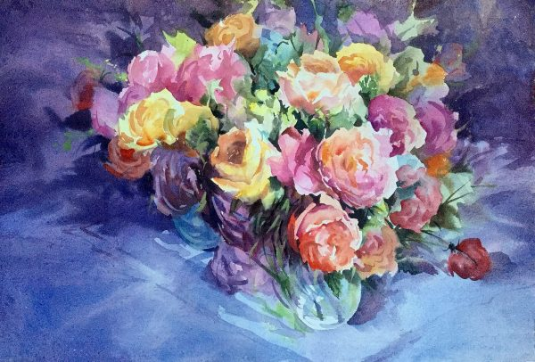 Wedding Bouquet is a extra large watercolour by Trevor Waugh