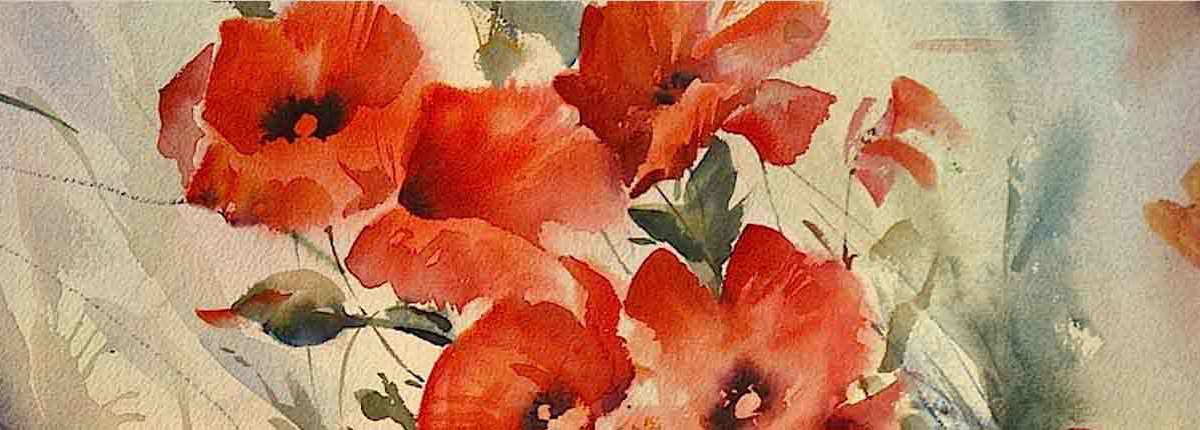 Flower watercolours poppy, Original Painting by Artist Trevor Waugh