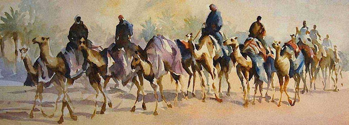 Camel Train, Original Painting by Artist Trevor Waugh