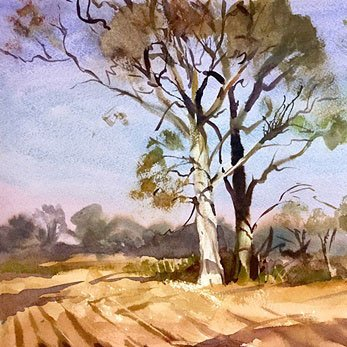 Landscape painting watercolour by fine artist Trevor Waugh.