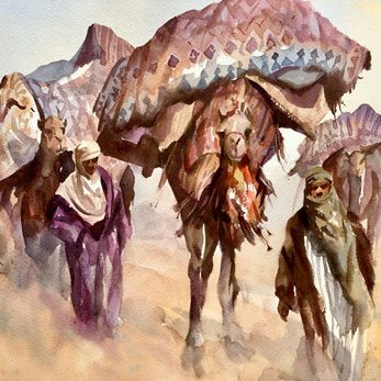 Oriental painting, The Carpet Carriers, watercolour for sale. Original Trevor Waugh