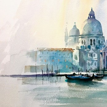 Watercolour painting of Venice by fine-artist Trevor Waugh.