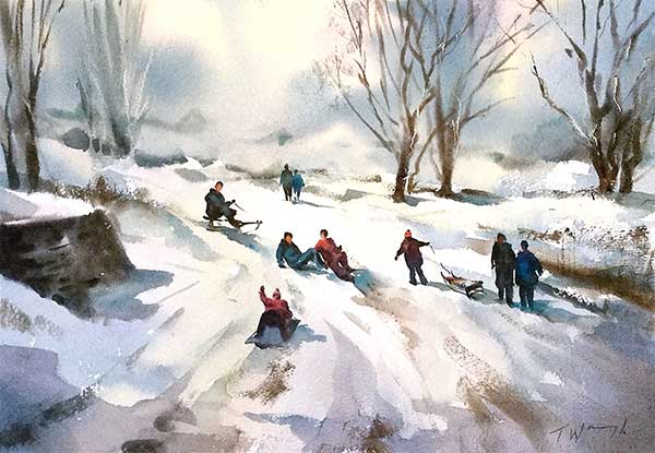 Watercolour painting tutorial, Christmas Snow with figures