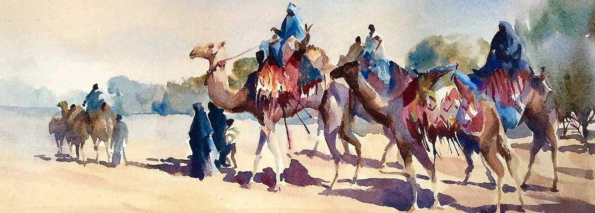 the visit, watercolour by Trevor Waugh