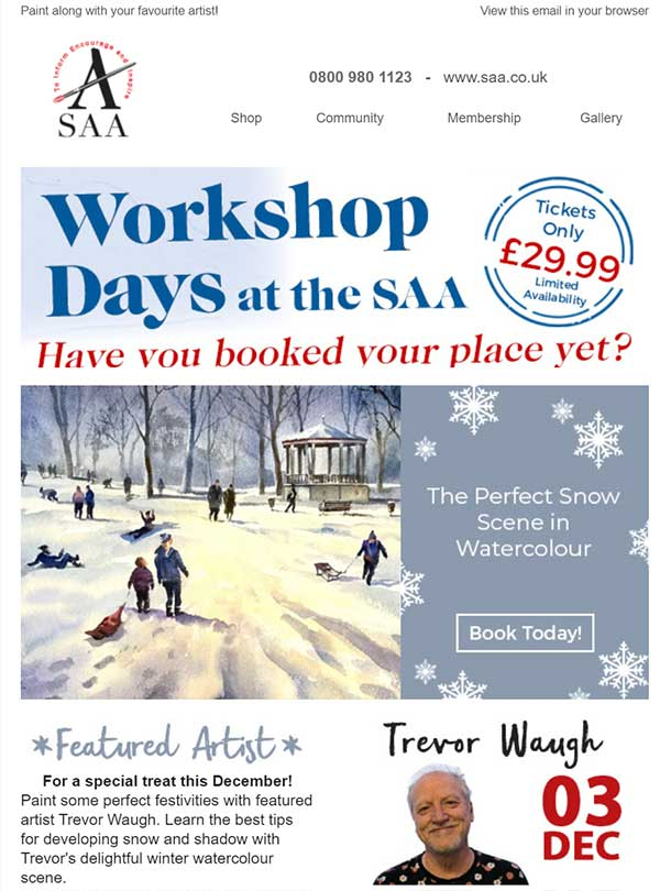 Workshop day poster Watercolour painting snow, winter and Christmas
