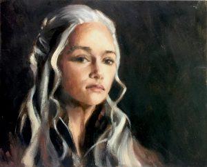 Daenerys Targaryen Oil on Board
