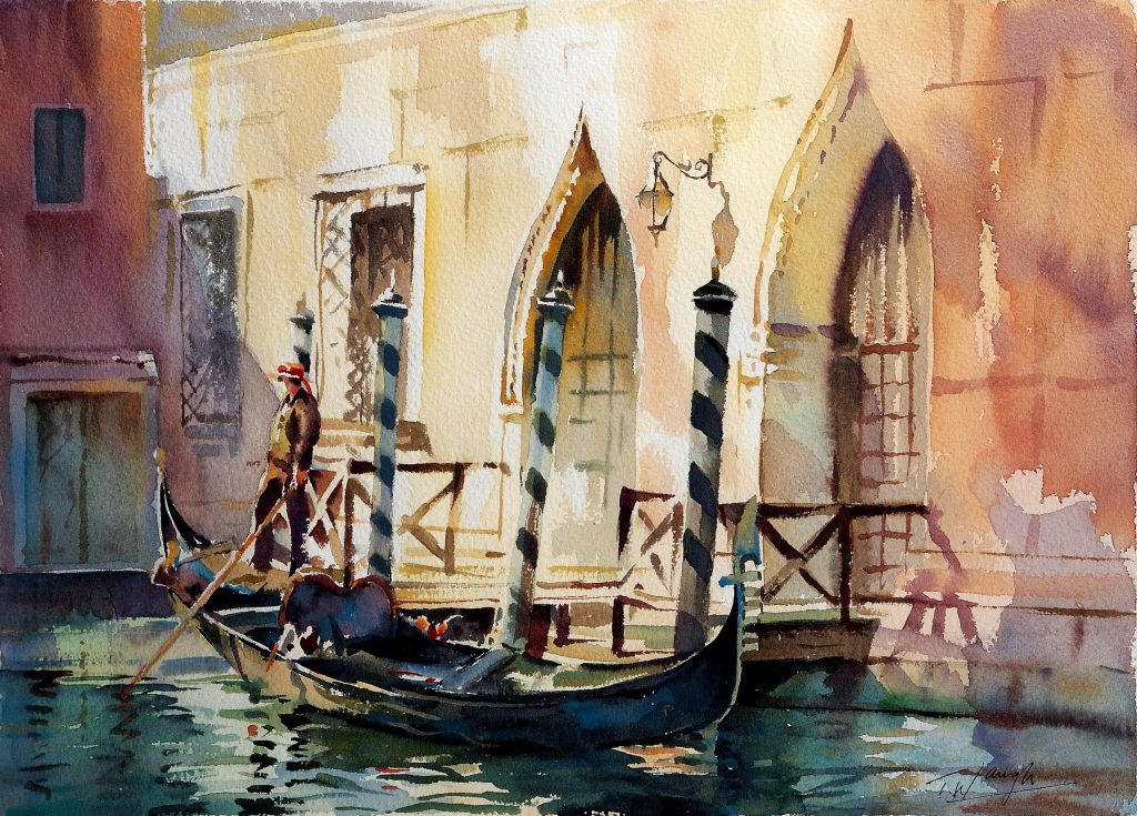 Watercolour painting of Venice by Trevor Waugh