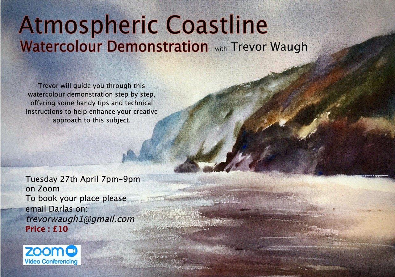 Atmospheric Coastline Water colour demonstration via zoom 27th April 2021